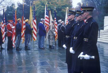 Soldiers at Veteran's Day Ceremony, Arlington National Cemetery, Washington, D.C.