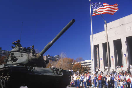 marchers: Tank in Veterans Day Parade, St. Louis, Missouri