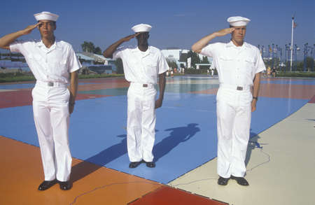 Three American Sailors Standing on Map of the United States,Sea World, San Diego, California