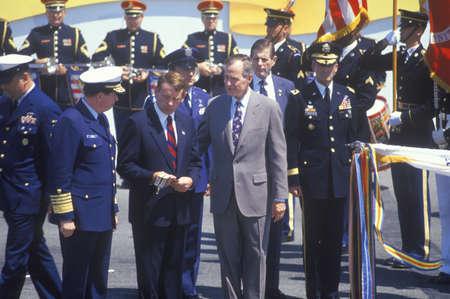 desert storm: El presidente George Bush en el Desert Storm desfile de la victoria, Washington, DC Editorial