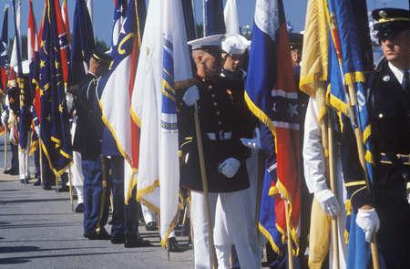 desert storm: Los soldados con banderas, la Tormenta del Desierto desfile de la victoria, Washington, DC