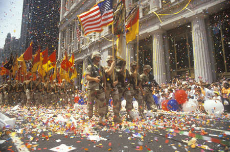 ticker: Soldiers Marching with Flags, Ticker Tape Parade, New York City, New York