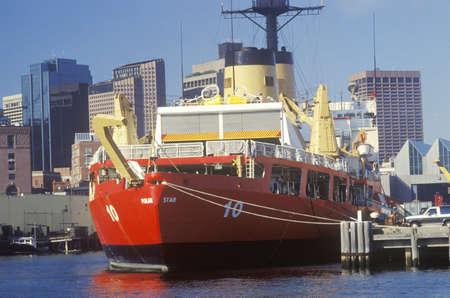 guard ship: Red United States Coast Guard Ship, Boston Harbor, Massachusetts