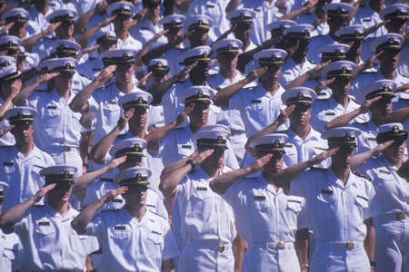 graduation ceremony: Sailors Saluting, Naval Academy Graduation Ceremony, May 26, 1999, Annapolis, Maryland