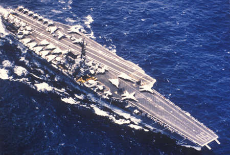 Aerial View of the USS Forrestal Aircraft Carrier on the Ocean Editorial