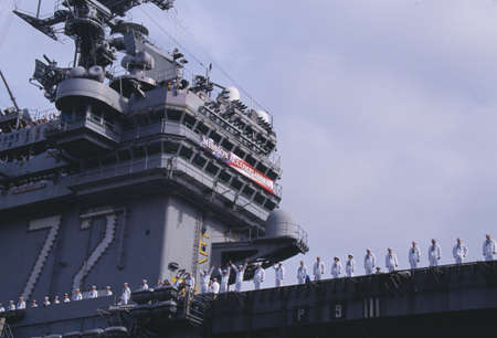 American Sailors on Deck of Aircraft Carrier