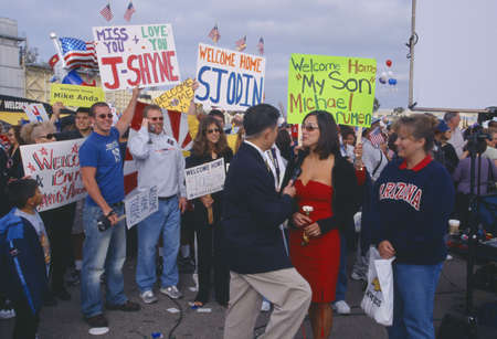 homecoming: Homecoming for American sailors, San Diego, California Editorial