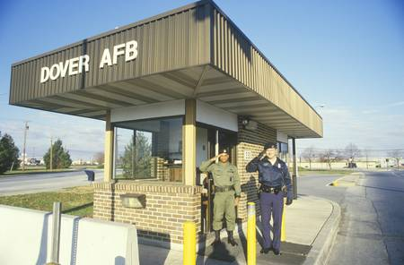 dover: Two Soldiers Saluting at Main Gate of Dover Airforce Base, Dover, Delaware Editorial