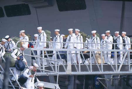 homecoming: American Sailors Debarking Ship and Returning Home From Sea