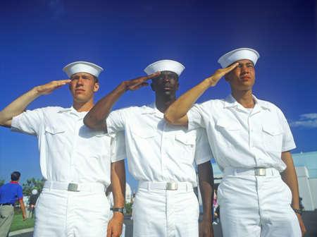 United States sailors saluting