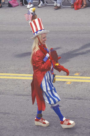 sam: Woman Dressed As Uncle Sam in Parade, Cayucos, California