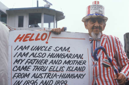 ellis: HungarianAmerican Man Dressed as Uncle Sam, Ellis Island, New York City