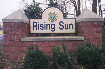 rising sun: Rising Sun City sign, Cecil County, Maryland Editorial