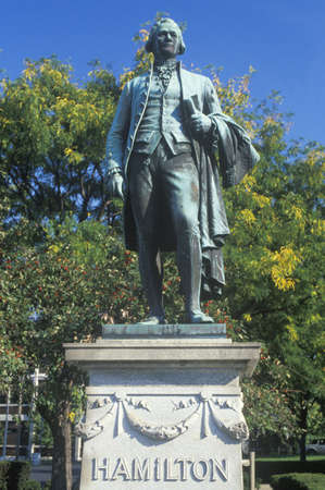 alexander great: Statue of Alexander Hamilton overlooking the Great Falls in Paterson, New Jersey Editorial