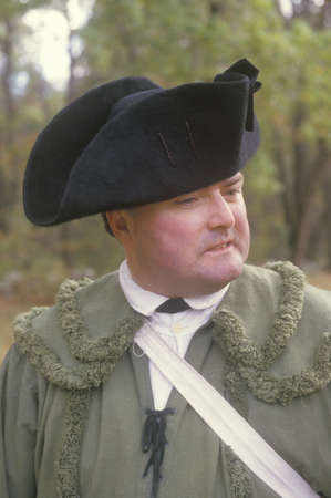 american revolution: Participant during an American Revolution reenactment, Continental Army