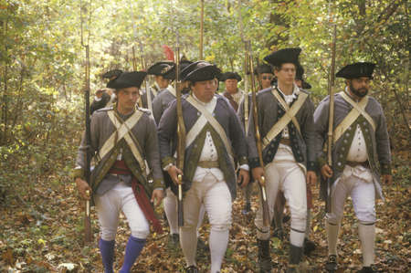 American soldiers during Historical American Revolutionary War Reenactment, Fall Encampment, New Windsor, NY