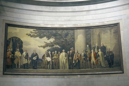 founding fathers: Painting of founding fathers inside the National Archives, Washington DC