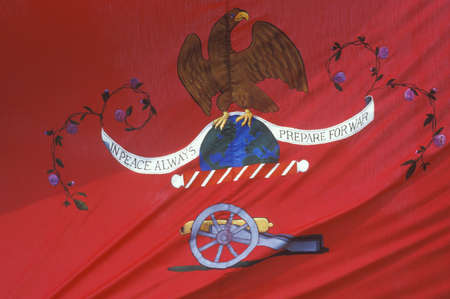 american revolution: Historical Reenactment, Daniel Boone Homestead, Brigade of American Revolution, Continental Army Infantry, detail of Artillery flag Editorial