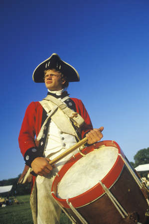 american revolution: Historical Reenactment, Daniel Boone Homestead, Brigade of American Revolution, Continental Army Infantry, Fife and Drum