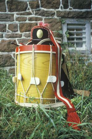 american revolution: Detail of Drum, Daniel Boone Homestead Brigade of American Revolution, Continental Army, Historical Reenactment