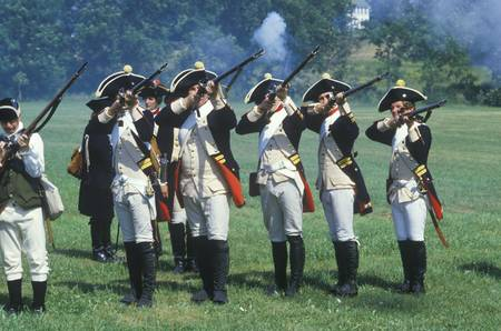 american revolution: Historical Reenactment, Daniel Boone Homestead, Brigade of American Revolution, Continental Army Infantry