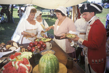 revolutionary war: Dining scene from Revolutionary War Reenactment, Freehold, NJ, 218th Anniversary of Battle of Monmouth,1778 Editorial