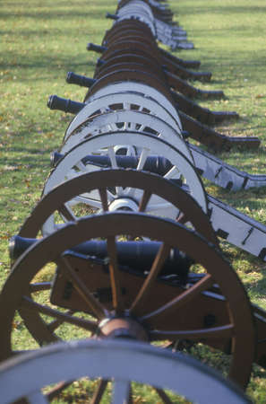 forge: Cannons at the Revolutionary War National Park at sunrise, Valley Forge, PA