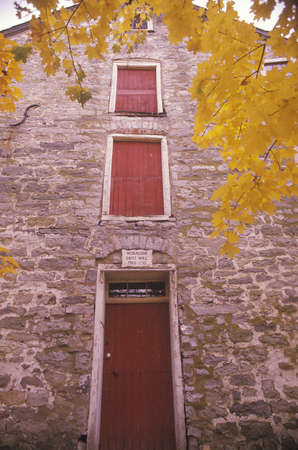 grist mill: Exterior of Moravian Grist Mill in Autumn, New Jersey Editorial