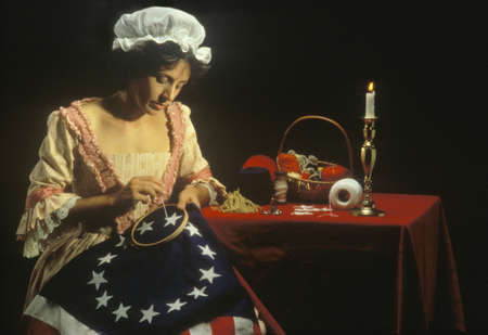 Living history reenactment of Betsy Ross making of first American flag, Philadelphia, Pennsylvania Editorial