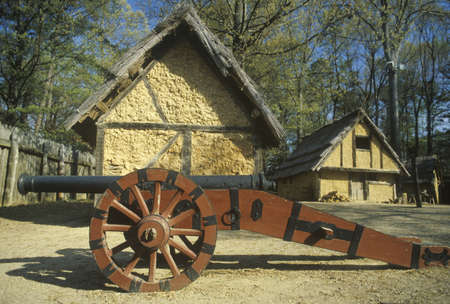 Exterior of building with cannon in historic Jamestown, Virginia, site of the first English Colony