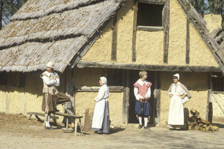 period costume: Participants in period costume in Historic Jamestown, Virginia, site of first English settlement