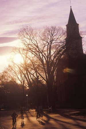 parish: Silhouette of Bruton Parish steeple at sunset, Williamsburg, Virginia