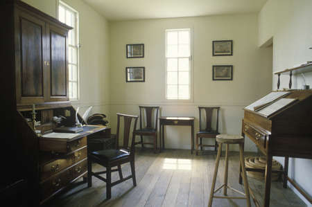 Interior of colonial era office in historical Williamsburg, Virginia