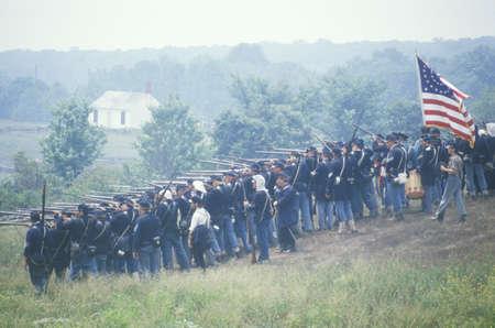 photographies: Historical reenactment of the Battle of Manassas, marking the beginning of the Civil War, Virginia