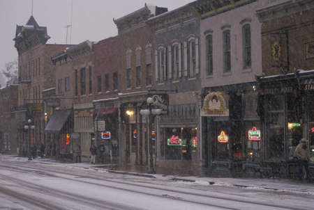 Main street of Deadwood, SD in snow Stock Photo - 20711374