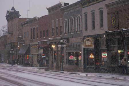 Main street of Deadwood, SD in snow Stock Photo - 20711374