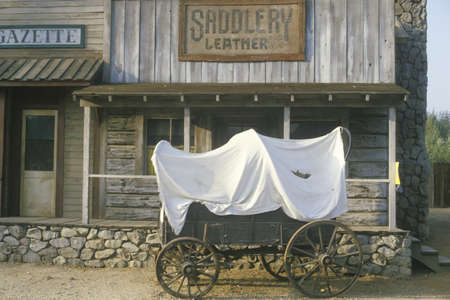 covered wagon: Covered wagon in front of Saddlery store in Paramount Ranch, Los Angeles, CA