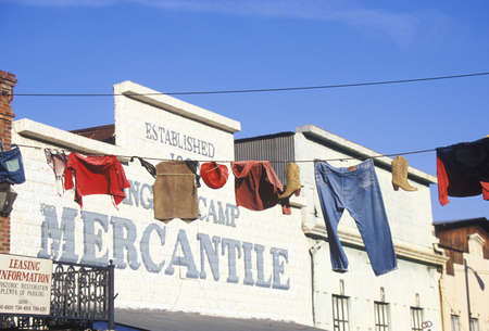 mercantile: Clothes hanging on line outside Mercantile in Historic Angels camp, Gold Rush town, CA Editorial