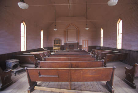 pews: Interior of church in Bodie, California, Ghost town Editorial