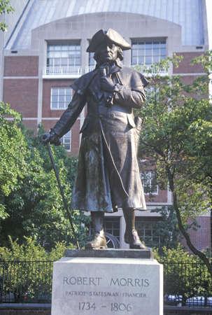 morris: Statua in bronzo di Padre fondatore e rivoluzione Financier Robert Morris nel quartiere storico di Filadelfia Pennsylvania