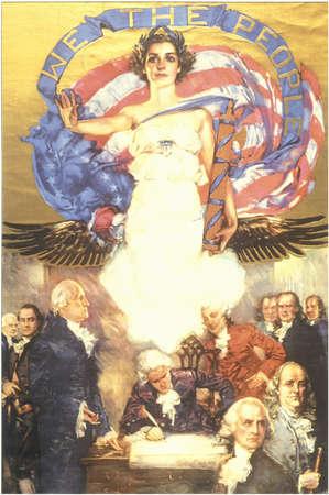 미국 헌법 및 우리 국민의 서명을 내려다 보는 자유의 천사의 벽화