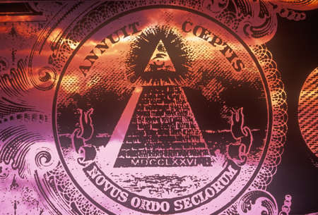 Obverse (reverse) side of National Seal of the United States, a pyramid with all seeing eye of providence - Novus Ordo Seclorum