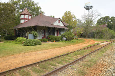 Railroad station at historic Andersonville Georgia, adjacent to Andersonville National Park for Civil War Prison Editorial