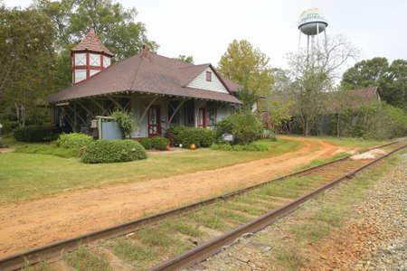 andersonville: Railroad station at historic Andersonville Georgia, adjacent to Andersonville National Park for Civil War Prison Editorial