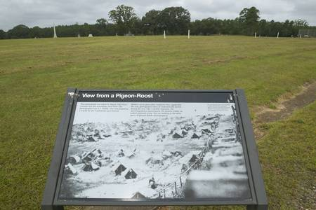andersonville: Visitor map of National Park Andersonville or Camp Sumter, site of Confederate Civil War prison and cemetery for Yankee Union prisoners