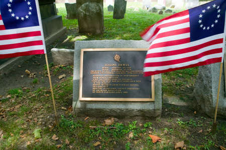 signer: Joseph Hewes gravestone in Christ Church Burial Ground, Philadelphia, Pennsylvania, a signer of the Declaration of Independence