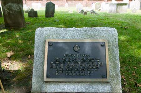 독립 선언문 서명자 인 펜실베니아 주 필라델피아의 그리스도 교회 매장지에있는 조지 로스 묘비