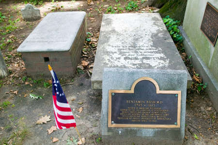 Benjamin Rush, M.D. gravestone in Christ Church Burial Ground, Philadelphia, Pennsylvania, a signer of the Declaration of Independence