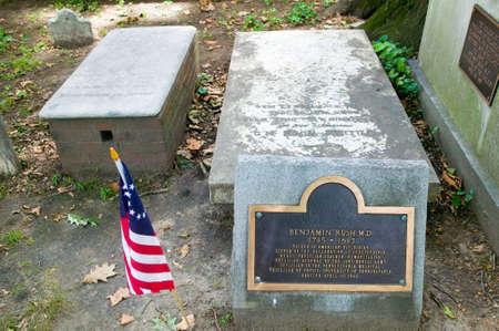 signer: Benjamin Rush, M.D. gravestone in Christ Church Burial Ground, Philadelphia, Pennsylvania, a signer of the Declaration of Independence Editorial