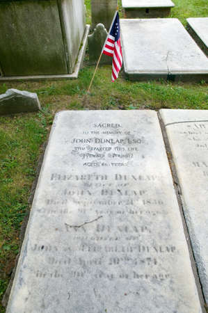 signer: John Dunlap gravestone in Christ Church Burial Ground, Philadelphia, Pennsylvania, a signer of the Declaration of Independence and printer of Dunlap copies